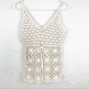 KarenKane Cream Crochet Knit Boho Hippie Tank Top